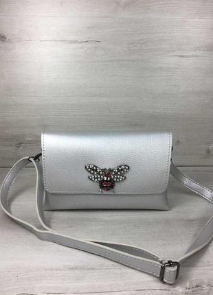 Акция!!  женская сумка- клатч келли серебряного цвета (никель)