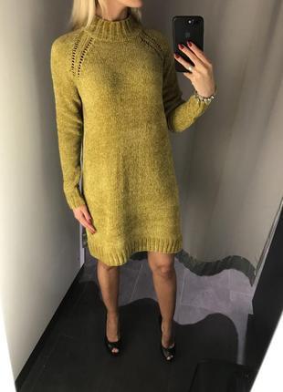Мягенькое тёплое платье горчичное платье миди вязаное платье. amisu. размеры разные.