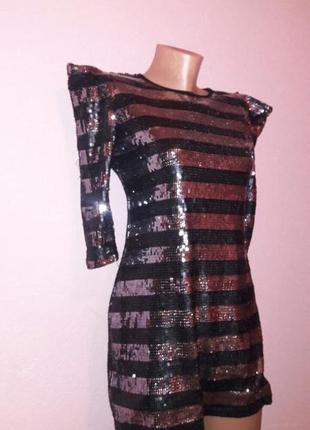 Сексуальное нарчдное платье в паетки серебро черное