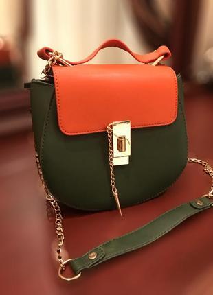 Celine drew bag темно зелёная с оранжевым маленькая сумка на цепочке через плече