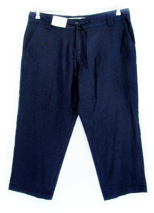 Укороченные темно-синие штаны, 55% лён