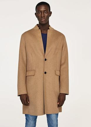 Шерстяное пальто zara man .