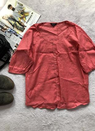 Коралловая блуза с коротким рукавом