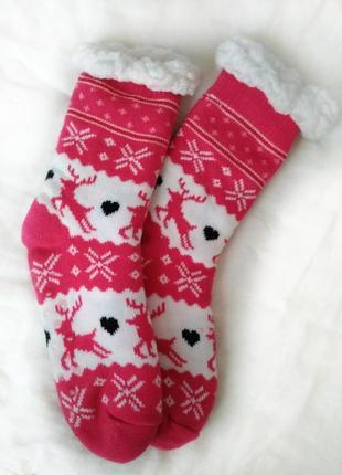 Носочки тёплые новогодний принт акция 1+1=3