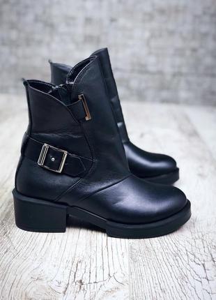 Рр 38,39 по скидке зима натуральная кожа люксовые эксклюзивные черные ботинки с ремешком3