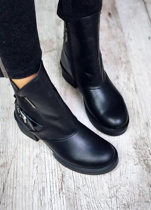 Рр 38,39 по скидке зима натуральная кожа люксовые эксклюзивные черные ботинки с ремешком2