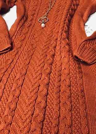 Стильное тёплое вязаное платье в терракотовом цвете размер с-м