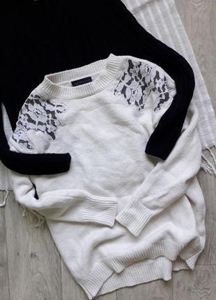 Молочный свитерок с кружевными вставками от marks&spencer