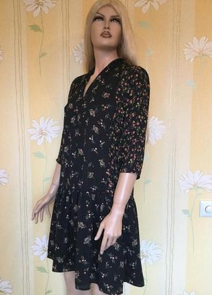 Платье с воланом в цветы marks&spenser размер 12/14