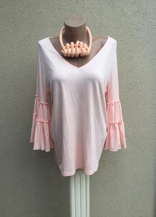 Розовая кофта,блуза трикотаж.вискоза ткань,воланы,рюши на рукавах,этно,бохо стиль