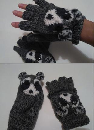 """Актуальные вязаные митенки с отстегивающейся варежкой """"панды"""" рукавички варежки"""