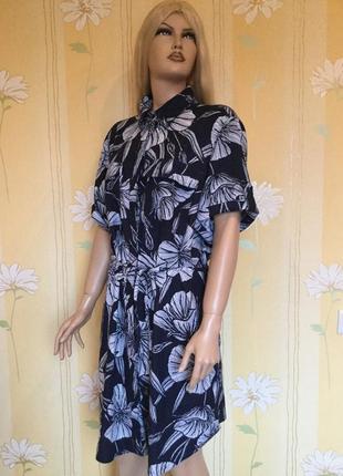 Платье рубашка в цветы лён next 22 размер