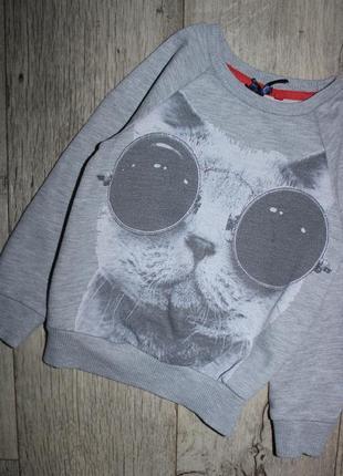 Свитшот джемпер кофта батник серый кошка в очках некст next 4 года, рост 104 см.