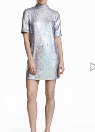 Платье h&m с открытой спиной в пайетках белое