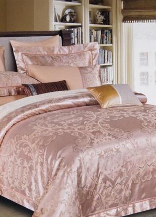 Сатин жаккард viluta рис. 1743 розовый постельное белье премиум класса