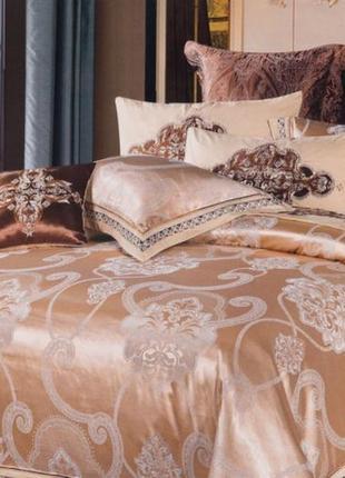 Сатин жаккард viluta рис. 1748 персиковый постельное белье премиум класса
