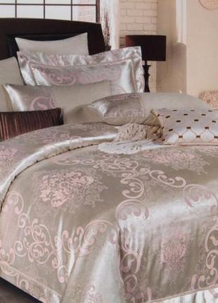 Сатин жаккард viluta рис. 1749 нежно-розовый постельное белье премиум класса