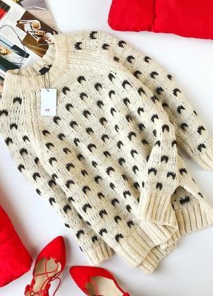 Идеальный оверсайз свитер крупной вязки с шерстью и альпакой h&m