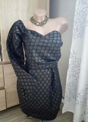 &нарядное маленькое черное платье в золотистый горох, asos, один рукав, р.10-12