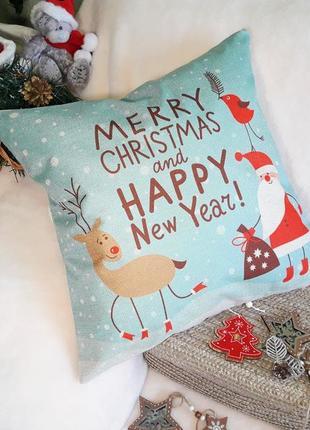 Декоративная подушка с новогодним принтом
