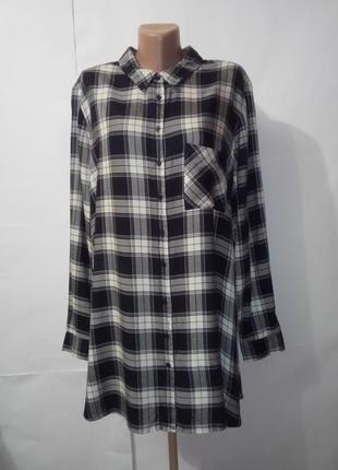 Вискозная удлиненная рубашка в модную клетку marks&spencer uk 24 большой размер