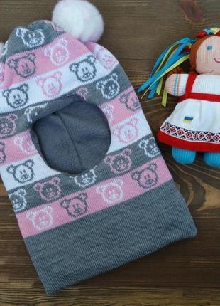 """Зимняя шапка-шлем на флисе """"свен"""" для девочки."""