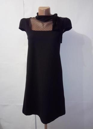 Черное вискозное базовое платье от дорого люкс бренда valentino uk 10 / 38 / s