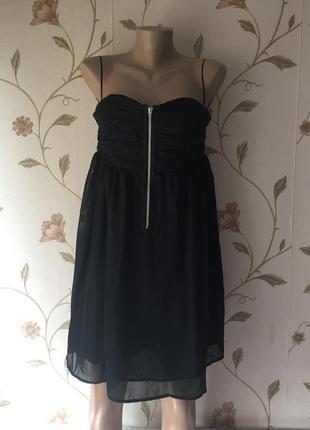 Шикарное вечернее черное шифоновое платье бюстье от only