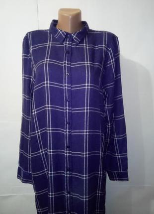 Хлопковая длинная рубашка в клетку atmoshere uk 16 / 44 / xl