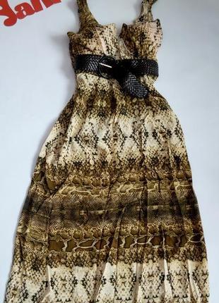Платье 46 48 сарафан размер длинное нарядное леопардовый принт бюстье скидка топ лук
