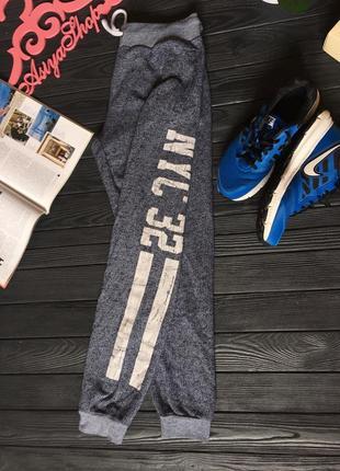 Спортивные повседневные коттоновые штаны брюки с надписью цифрами primark m l