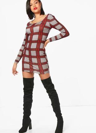 Boohoo,платье футляр, в клетку.44 размер, новое в фабричной упаковке.