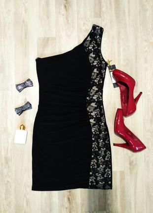 Облегающее вечернее платье на одно плечо с кружевом, uk 10, наш 44