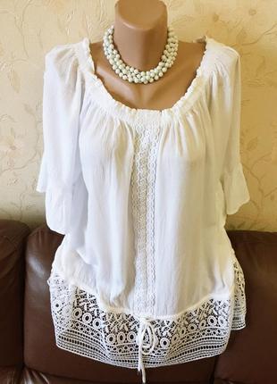 Красивая блуза с открытыми плечами и кружевом от bonmarche (uk20 - наш 54)