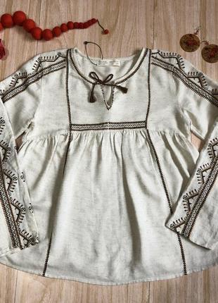 Вышиванка рубашка с вышивкой лен бежевая