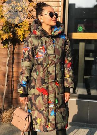 Пальто-курточка зимняя хаки с мотыльками хит сезона мега теплая
