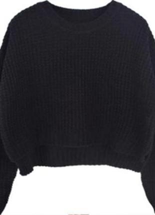 Вязаный свитер-топ кроп черный укороченный короткий кофта вязаная теплая крупной вязки