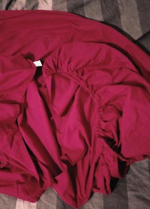 Розовая простынь односпалка на резинке 85х180х23