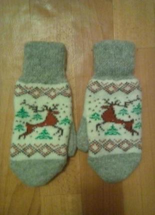 Зимние шерстяные новогодние варежки, рукавицы
