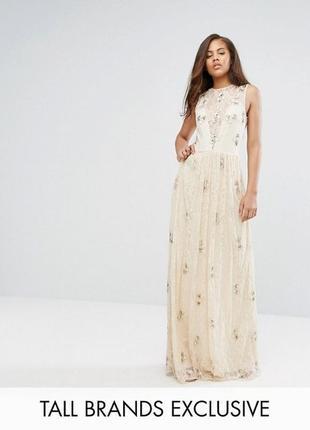 Кружевное платье макси с отделкой maya tall