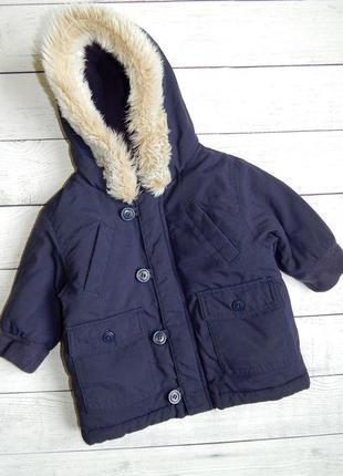 Теплая демисезонная куртка-парка m&s, для мальчика 3-6 месяцев. будет дольше!
