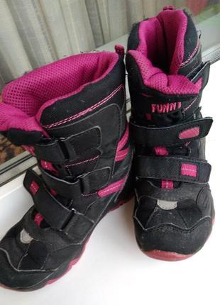 Детские демисезонные сапоги ботинки черные розовые для девочки 28 р