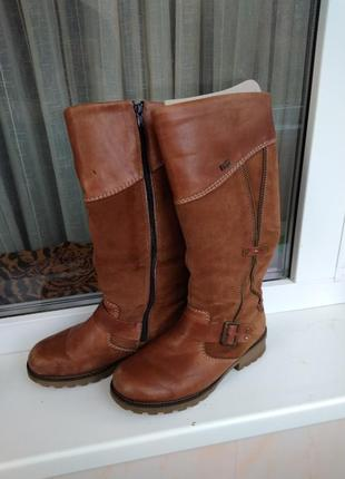 Коричневые натуральные зимние кожаные замшевые высокие сапоги 36 р