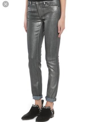 Штаны, брюки, джинсы skinny с напылением, блестящие, размер 16,фирмы next