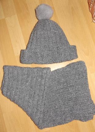 Очень теплый набор шапка шарф полушерсть на флисе ручная работа