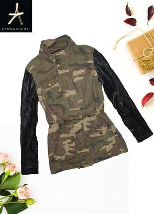Новая камуфляжная куртка с кожаными рукавами atmosphere