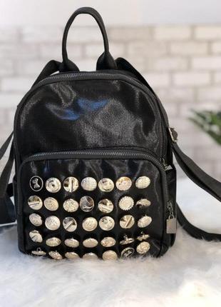 Рюкзак с пуговицами, тканевый черный