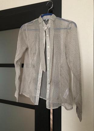 Рубашка,блуза,прозрачная,стильная,воротник стойка,галстук, рубашечка