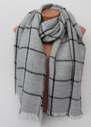 Большой теплый шарф платок палантин в клетку