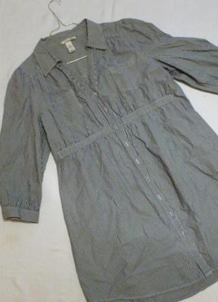 Блуза рубашка в мелкую полоску 97% котон